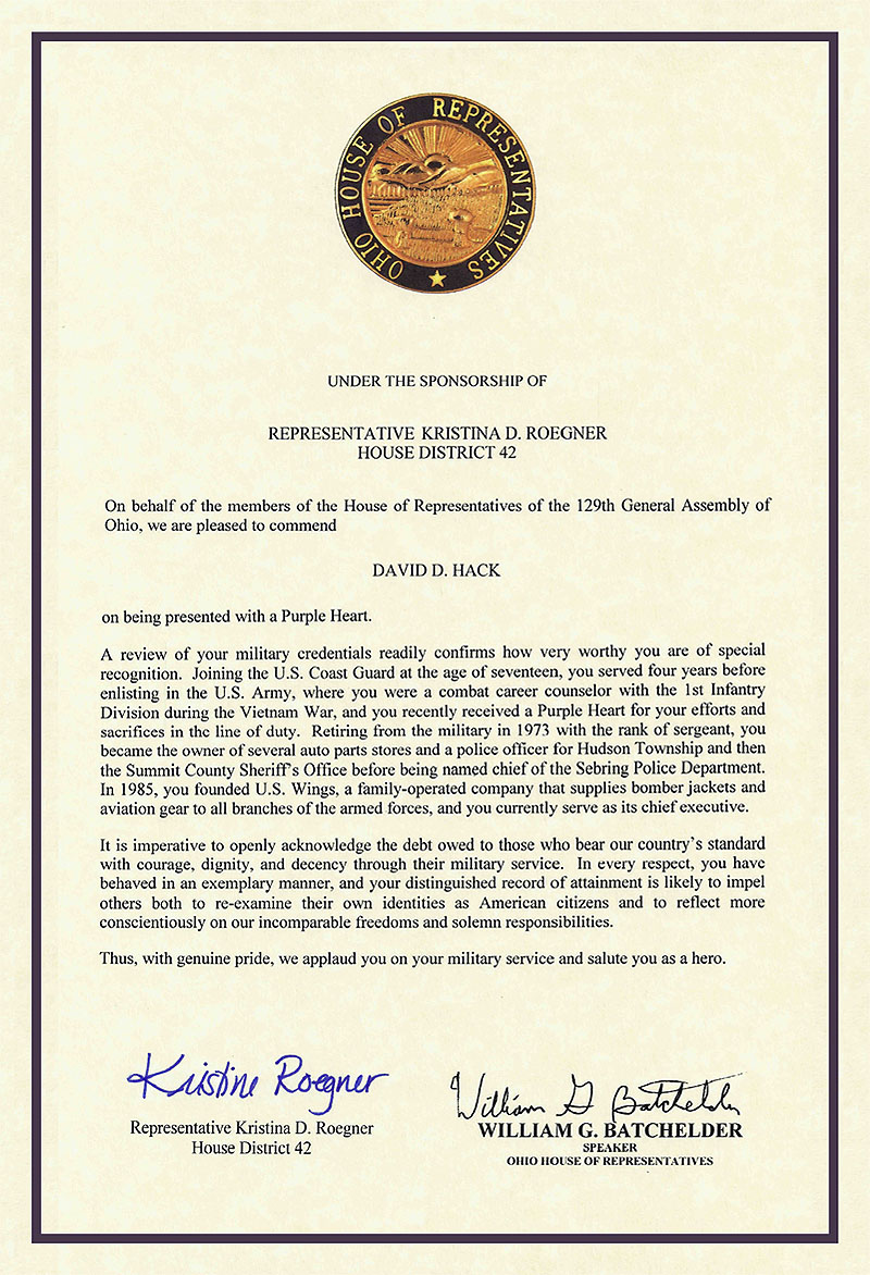 Letter of mendation from the Ohio House of Representavies