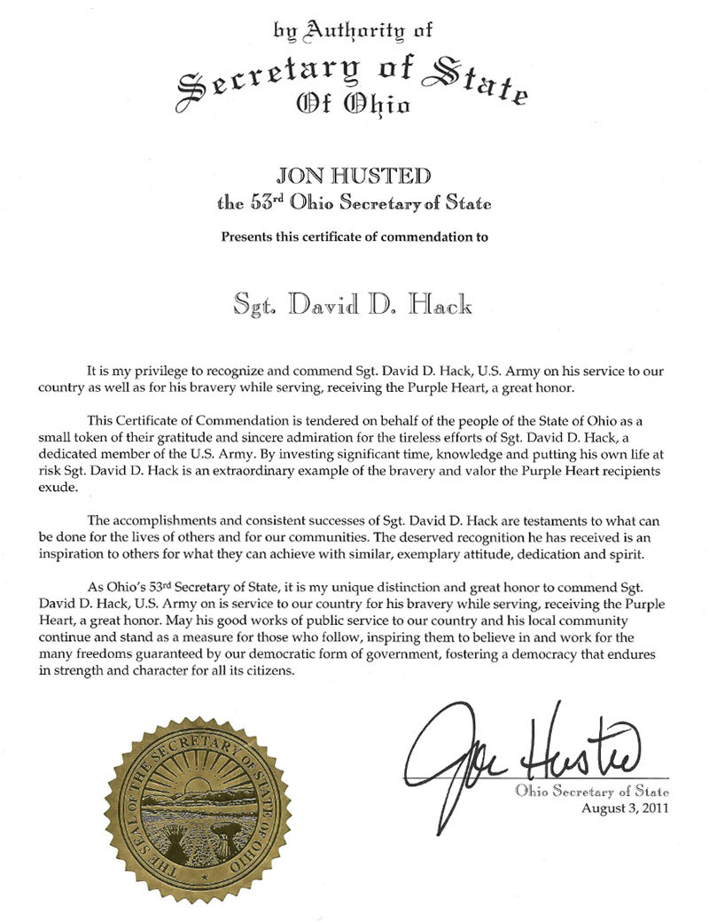 Certificate of Commendation from Jon Husted, Secretary of State of Ohio